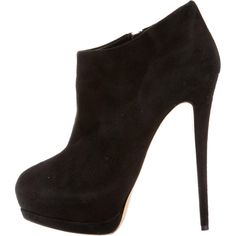 Pre-owned Giuseppe Zanotti Suede Round-Toe Booties ($180) ❤ liked on Polyvore featuring shoes, boots, ankle booties, black, black ankle booties, black boots, stiletto booties, black stiletto boots and black platform boots