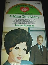 A Man Too Many By Jeanne Bowman A Valentine Easy Eye Romance Paperback 1961