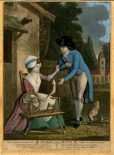 A young woman spinning at her wheel outside a cottage on the left, rejects the advances of a young man who bows towards her; an illustration to a song.  1782 Hand-coloured mezzotint with some etching