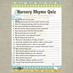 instant download nursery rhyme baby shower quiz by
