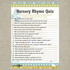 INSTANT DOWNLOAD Nursery Rhyme Baby Shower Quiz by GreenDotDesigns