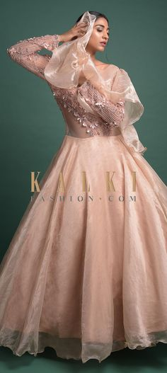 Powder peach gown in shimmer organza with embellished net bodice. Enhanced with zari, cut dana, beads and flowers on the bodice in floral pattern. Anarkali, Lehenga, Peach Gown, Illusion Neckline, Indian Wear, Salwar Kameez, Evening Gowns, Bodice, Ball Gowns