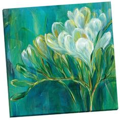 Portfolio Canvas Decor Freesia Blues I by Carson Framed and Stretched Ready-to-Hang Canvas Wall Art, 24x24, Size: Small 18 inch-24 inch, Multicolor