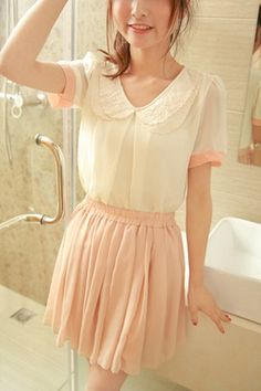 Contrast Colored Double-layer Embroidery Peter Pan Collar Chiffon Blouse OASAP.com