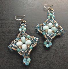 women earrings handmade beaded light blue earrings drop by fatash1