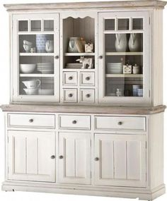 """""""Beautiful country-style showcase in solid white pine, with a sandblasted cover, 3 wooden doors, 3 drawers, 2 glass doors and 4 small drawers . Other variants can be ordered directly from one of our numerous branches. Interior Design Kitchen, Interior Design Living Room, Living Room Designs, Kitchen Furniture, Home Furniture, Kitchen Decor, Home Kitchens, Sweet Home, New Homes"""