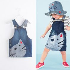 Summer Toddler Baby Girls Denim Dress Jeans Kid Overall Dress Clothes Size in Clothing, Shoes Accessories, Baby Toddler Clothing, Girls Clothing Little Girl Dresses, Girls Dresses, Cat Dresses, Cute Baby Dresses, Mini Dresses, Lovely Dresses, Cotton Dresses, Denim Fashion, Kids Fashion