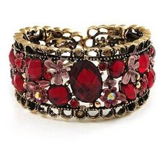 Bronze Tone Red Crystal #Floral #Cuff #Bangle