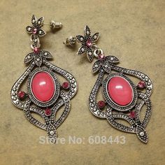 ER387 Antique Silver Bohemia Red Crystal Royal Drop Retro Vintage Earrings For Women Lady 2015 New Jewelry Bijouterie