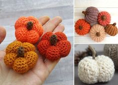 We all love the fall decorations. They have nice colors inspired by the nature: green conifers, red rowan berries, yellow fallen leafs, brown chestnuts. #freecrochetpattern #amigurumi #pumpkin
