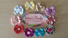 Velcro Bows Baby Bows Puppy Bows Small Dog Bows by linascrafts