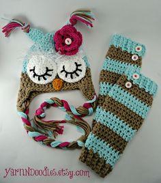 Baby Girl Crocheted Sleepy Owl Earflap Hat Legwarmer Set -Photo Prop Newborn Infant Toddler Shower Gift  Holiday Christmas Winter Birthday. $52.99, via Etsy.