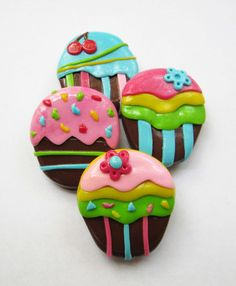 Cupcakes - 4 Polymer Clay Handmade Appliques ( Can Be Made As ...