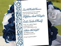 """DIY Wedding Invitation Template - Sparkling Sapphire Invitation """"Serenity"""" Wedding Printable - Microsoft Word Template Instant Download by PaintTheDayDesigns on Etsy"""