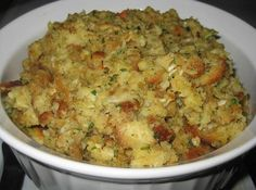 My mom is 91 years old now, but through the years, when I was a kid, the best thing about Thanksgiving was the stuffing. Hers was the best I ever ate. Loaded with flavor and Stuffing Recipes For Thanksgiving, Holiday Recipes, Thanksgiving Turkey, Thanksgiving Desserts, Christmas Desserts, Thanksgiving Dressing, Dinner Recipes, Turkey Stuffing Recipes, Holiday Treats