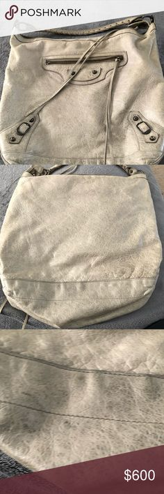 Valencia's Day Taupe Leather Hobo Bag is still in great condition. Zippers all work and there is only one little dark mark on bag. See pictures. Leather is aged. Balenciaga Bags Hobos