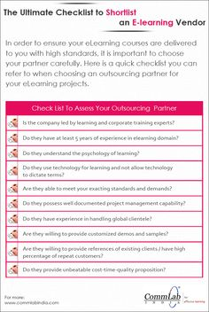 A Short Checklist to Shortlist An E-learning Vendor - An Infographic