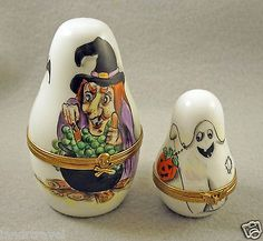 Two Halloween Nesting Boxes Limoges Witch & Ghost with Pumpkin.