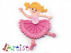 Crochet Applique Ballerina - free choice of color