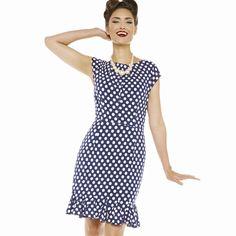 Pouzdrové modré šaty s bílými puntíky Lindy Bop Gray Pohodový kousek do  Vašeho šatníku 1f0450e28c