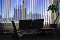 Two black flat screen monitors on desk near window – Furniture – Commercial Office Furniture Inspiration Plus Window Furniture, Corner Furniture, Table Furniture, Office Furniture Inspiration, Commercial Office Furniture, Through The Roof, Best Windows, Black Flats, White Walls