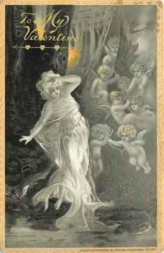 Full Sized Image: nymph in white flowing dress has left hand at brow, eight cherubs to her left float in air yellow border - TuckDB