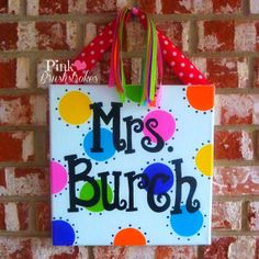 Personalized Colorful Polka Dot Name Canvas Wall Art or Door Hanger - Hand Painted
