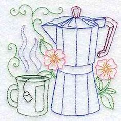 Buy Individual Embroidery Designs from the set Line Art Tea Pots