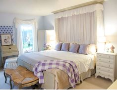 Beautiful bedroom decorated in a seaside-inspired color palette by @Diane Henkler – via MyColortopia.com