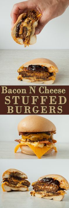 Bacon and Cheese Stuffed Bacon Burgers