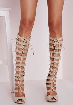 5821a58710c Heeled Knee High Gladiator Sandal Cream Lace Up Gladiator Sandals