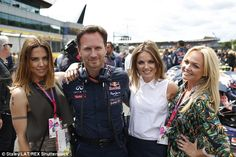 Say you'll be there! Red Bull Racing with Christian and Spice Girls Mel C, Geri Halliwell and Emma Bunton at Silverstone Grand Prix (2015).