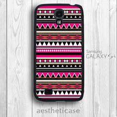 Galaxy s4 Case Aztec Pattern Tribal Print Shocking Pink Galaxy s4 Rubber Case Black White Back Cover --000078 on Etsy, $9.99