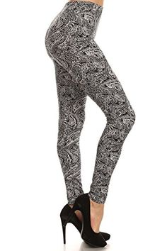 High rise full length stretchable leggings with elastic waist band in mixed color #Gorgeous Paisley pattern print gives you a great look, good to match with Soli...
