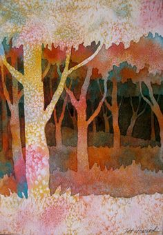 The Painted Prism: WATERCOLOR WORKSHOP: Negative Painting Trees Watercolor Negative Painting, Watercolor Trees, Watercolor Landscape, Watercolor Paintings, Painting Trees, Watercolors, Bird Paintings, Forest Painting, Indian Paintings