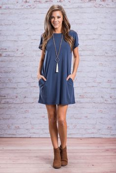 """""""I'll Never Take It Off Dress, Blue"""" You'll understand why you'll never want to take this dress of once you can feel the fabric and experience the fit for yourself! It's fabric is so soft and the fit so comfy but stull so cute!  #Newarrivals #shopthemint"""