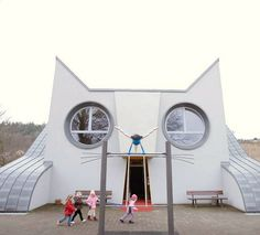 Cat shaped school in Germany by artist Tomi Ungerer