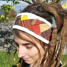Funky Fall Colors Scrap Fabric Patchwork Headband by HeadsAllEmpty