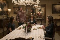 "Here are Rory, Emily, Lorelai, and even LUKE at the Gilmore residence, presumably on the same Friday night. | Oh My God, There Are Even More Photos From ""Gilmore Girls: A Year In The Life"""