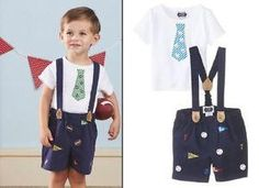 Mud Pie Baseball Short Set with Suspenders