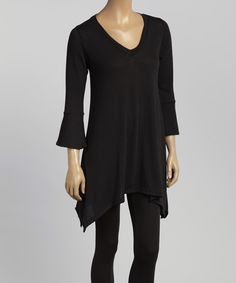 Love this Casa Lee Black V-Neck Sidetail Top by Casa Lee on #zulily! #zulilyfinds