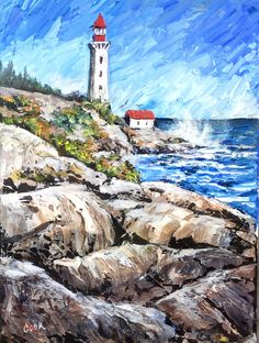Lighthouse on the Rocks is the March release for the Wave and Water Masterclass. The majority of the piece is done over several days with a palette knife in this 5 part video lesson on 9x12 canvass. Try it on the small canvass first as palette knife painting uses a lot more paint to get the effect.