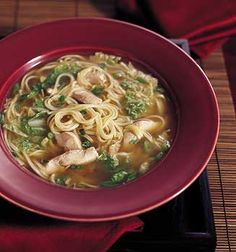 Chinese Chicken Noodle Soup with Sesame and Green Onions Recipe | Epicurious.com