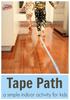 Toddler Approved!: Tape Path - Making a Tape Path around your house is simple and requires nothing other than some painters tape and the floor. You can even grab some furniture to make a maze! (Of course, this assumes my house is decluttered enough to be able to make a tape path!!)