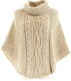 Aran cable-knit cowl poncho with buttons.Knitting Patterns Cowl here is a sweaterThis Pin was discovered by hya Hand Knitted Sweaters, Knitted Poncho, Knitted Shawls, Poncho Knitting Patterns, Hand Knitting, Poncho Shawl, Scarf Styles, Cardigans For Women, Knit Crochet