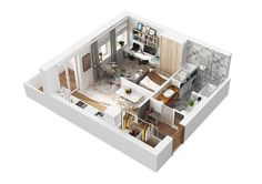 No blog: kitnet decorada ou peq apartamento de 40 m² lindo de viver. Blog Achados de Decoração