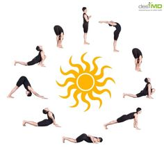 Sun salutation or 'surya namaskar' is a series of asanas or yoga poses performed in a flow. Surya Namaskar Purpose hygiene, energy management and a positive mental state. Surya Namaskar Video, Surya Namaskara, Yoga Sun Salutation, Pilates, Easy Yoga Poses, Yoga Posen, Yoga Positions, Ashtanga Yoga, Kundalini Yoga