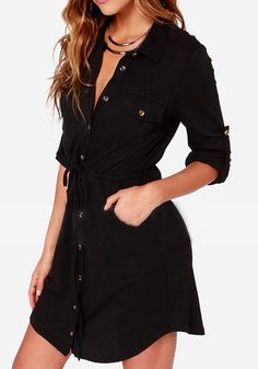 Black Plain Drawstring Single Breasted Pockets Long Sleeve Turn Down Collar Fashion Dress - Dresses