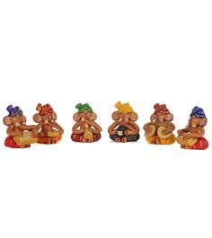Multicoloured Hand Painted Terracotta Lord Ganesha Statue- Set Of 6