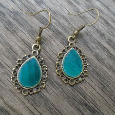Sea Green Teardrop Earrings with Stained Glass by Tocasol on Etsy